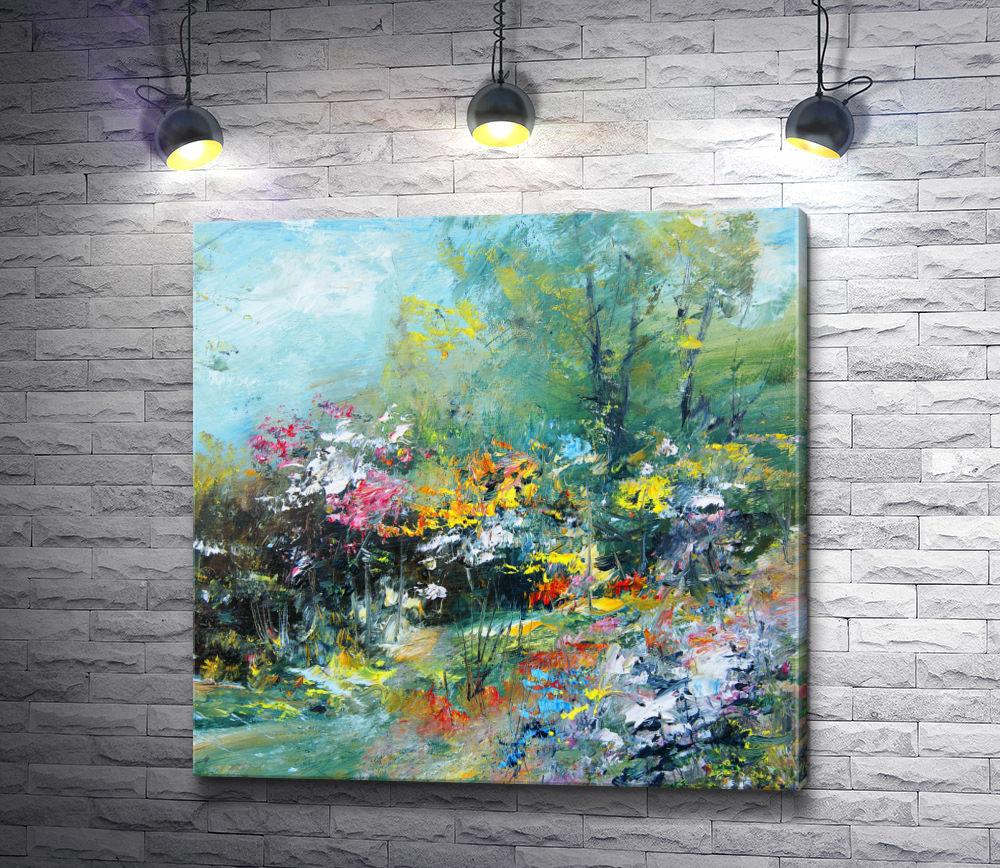 """Картина """"Осенний ландшафт с желтыми цветами"""""""