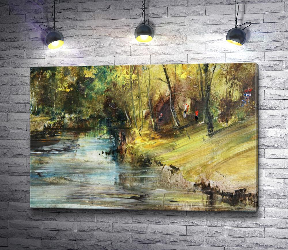 """Картина """"Прогулка у реки в осеннем лесу"""""""