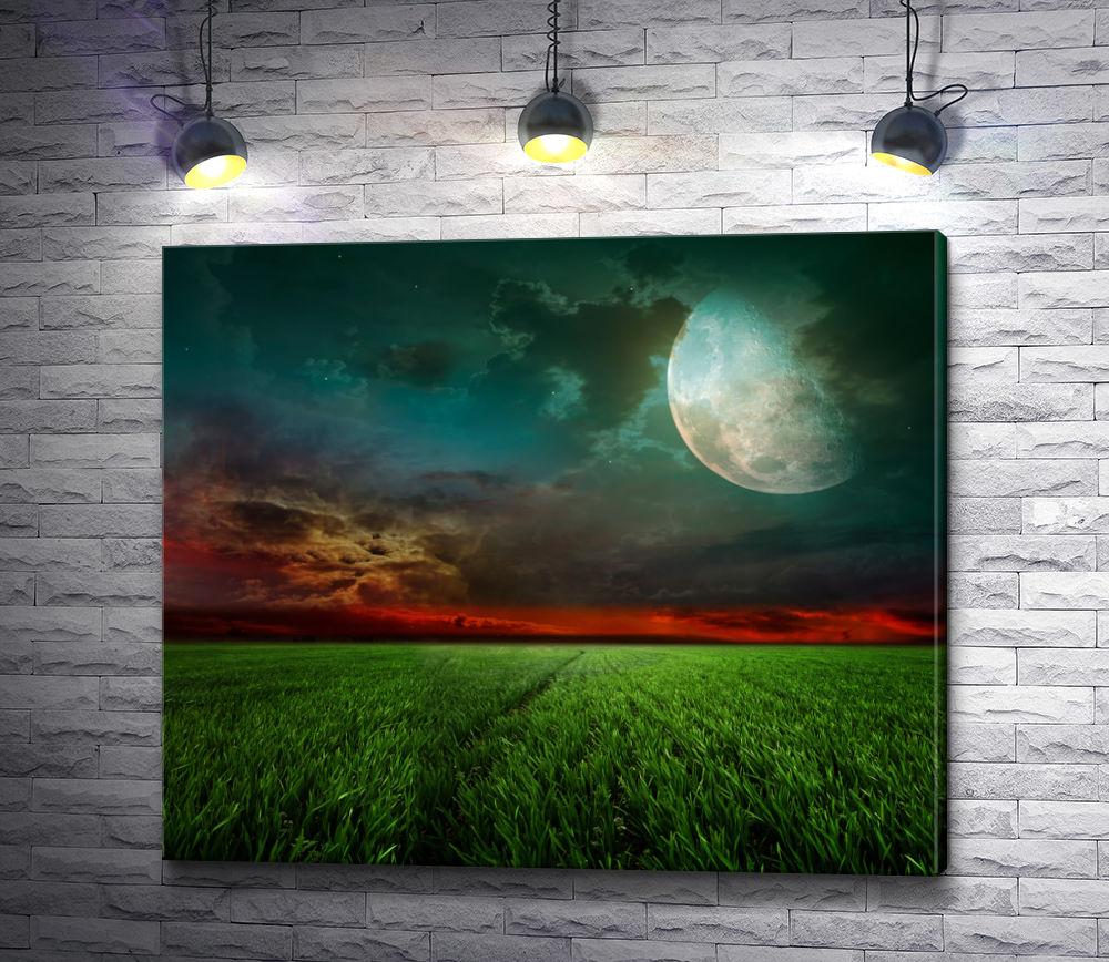 "Картина ""Красный закат и луна над зеленым лугом"""