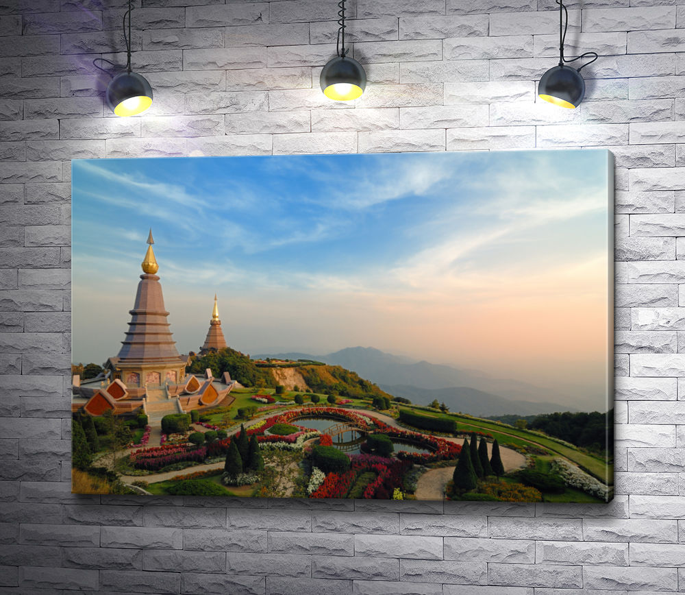 """Картина """"Вид на храм . Мэхонгсон, Таиланд"""""""