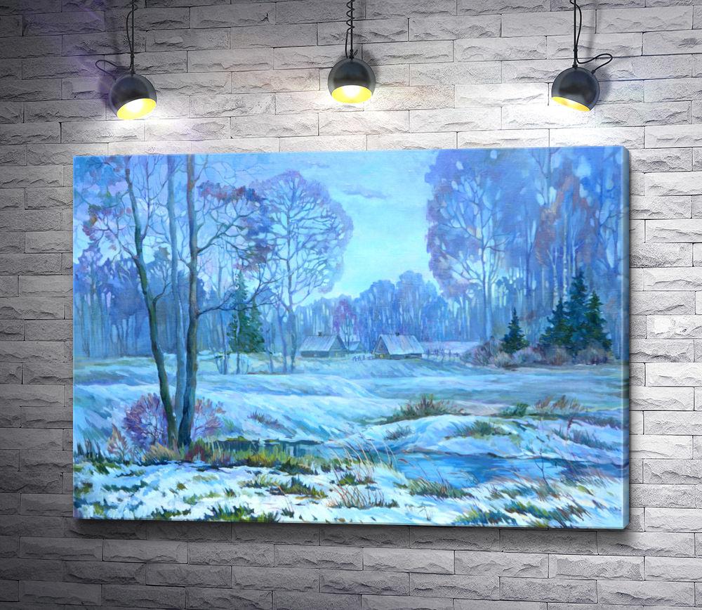 """Картина """"Зимний голубой пейзаж"""""""