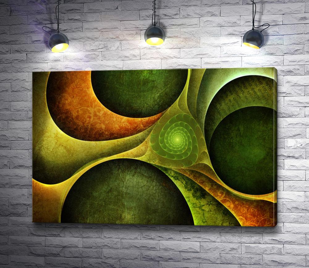 """Картина """"Абстрактные зеленые звезды"""""""