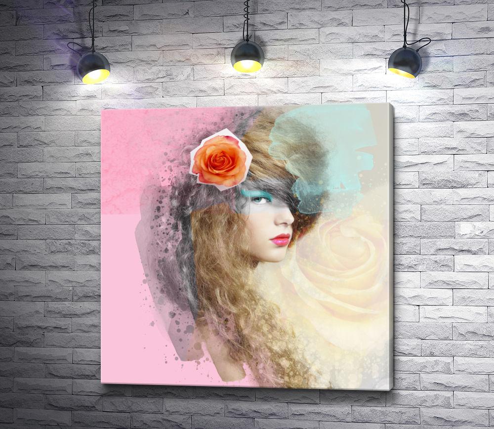 """Картина """"Девушка с красной розой в волосах"""""""