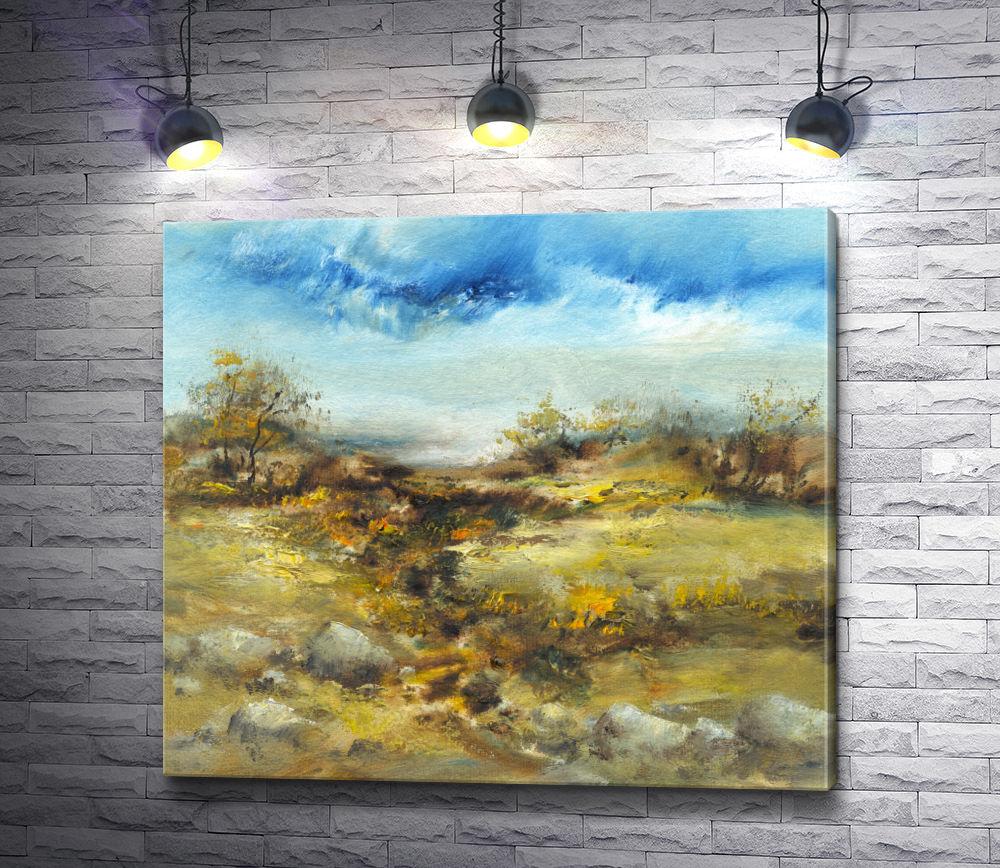 """Картина """"Осенний пейзаж с желтыми цветами"""""""