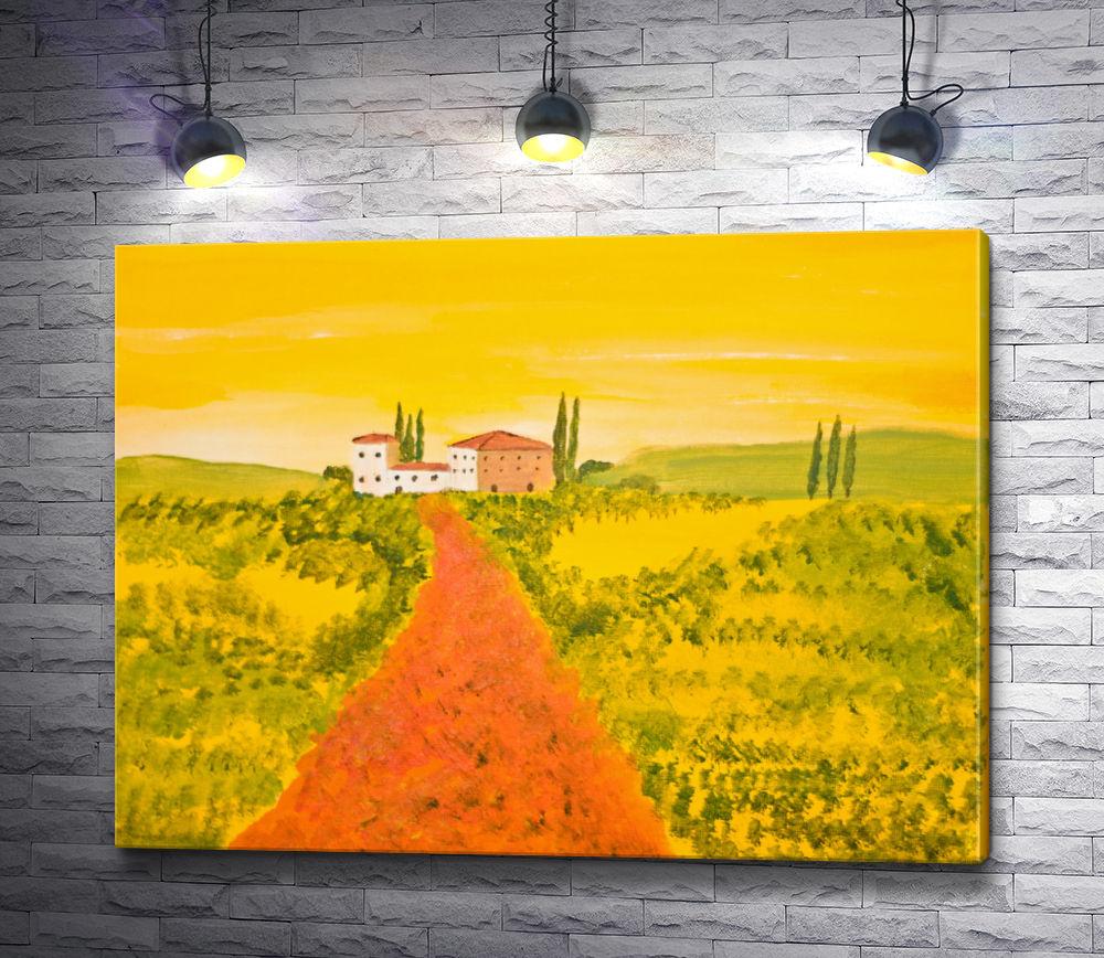 """Картина """"Дорога домой через поле. Тосканская долина"""""""