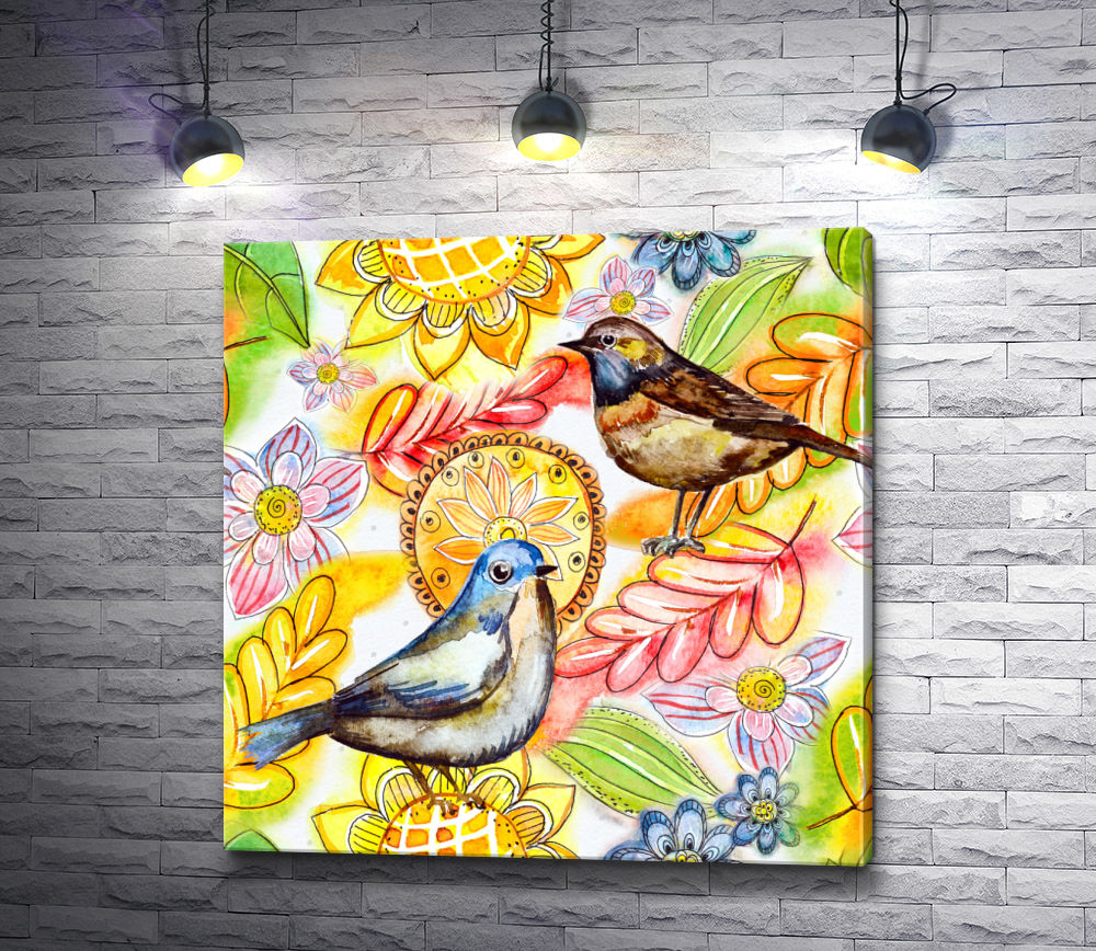 """Картина """"Две птички и осенние листья"""""""