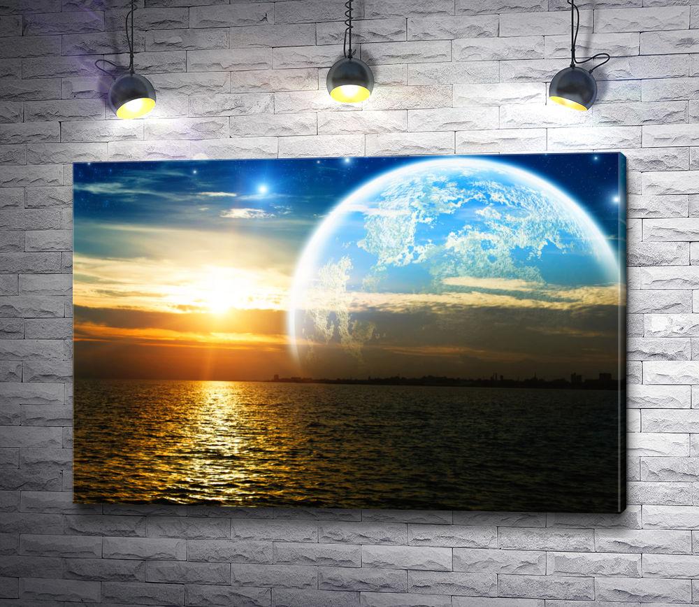 """Картина """"Огромная луна над морским гоизонтом"""""""