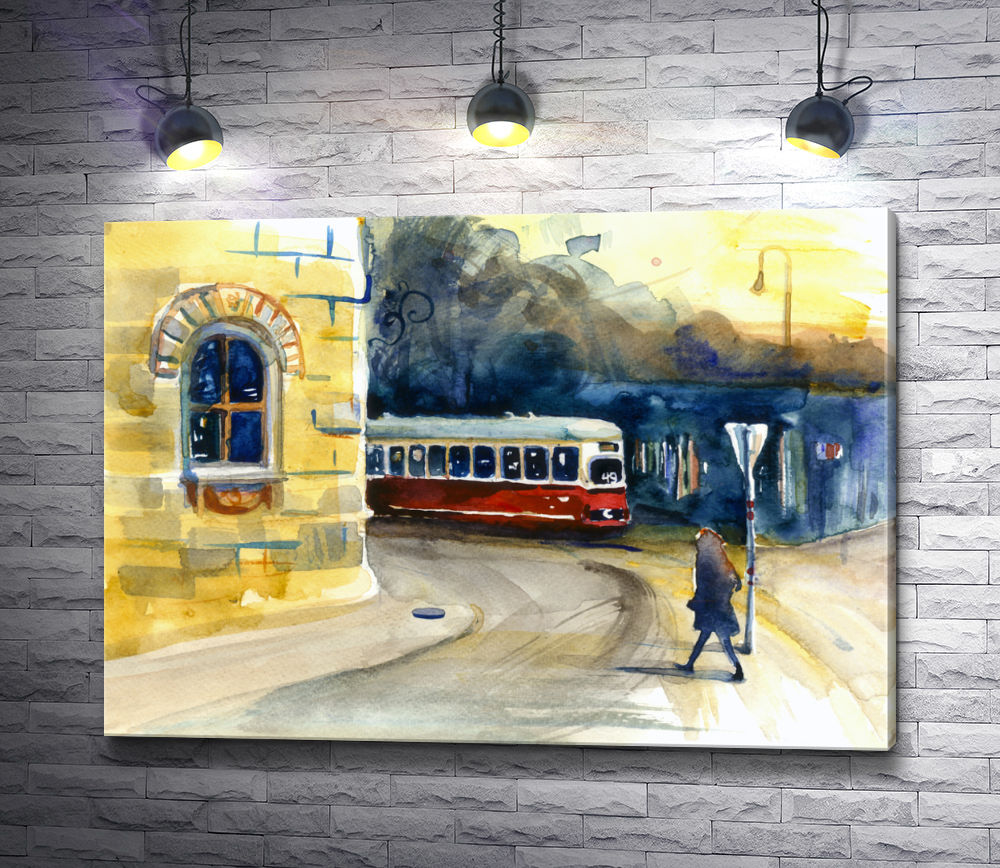 """Картина """"Трамвайная остановка. Городской пейзаж"""""""