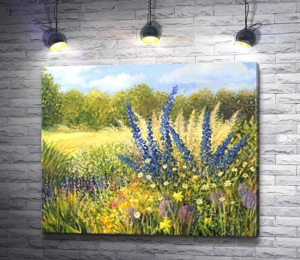 """Картина """"Дельфиниумы и полевые цветы в яркий солнечный день"""""""