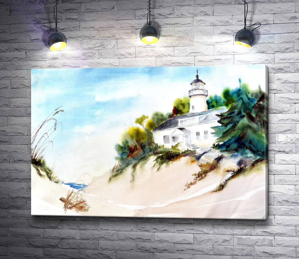 "Картина ""Маяк на песчаном пляже"""