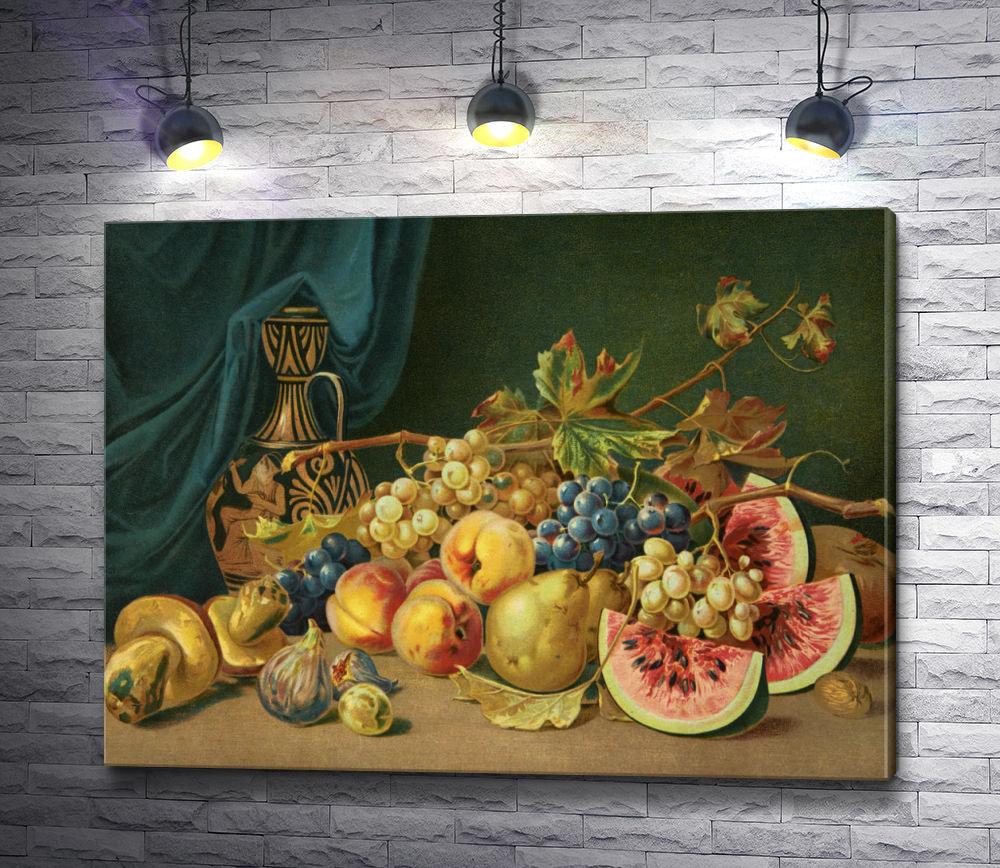 """Картина """"Натюрморт с фруктами, осенними листьями и вазой"""""""