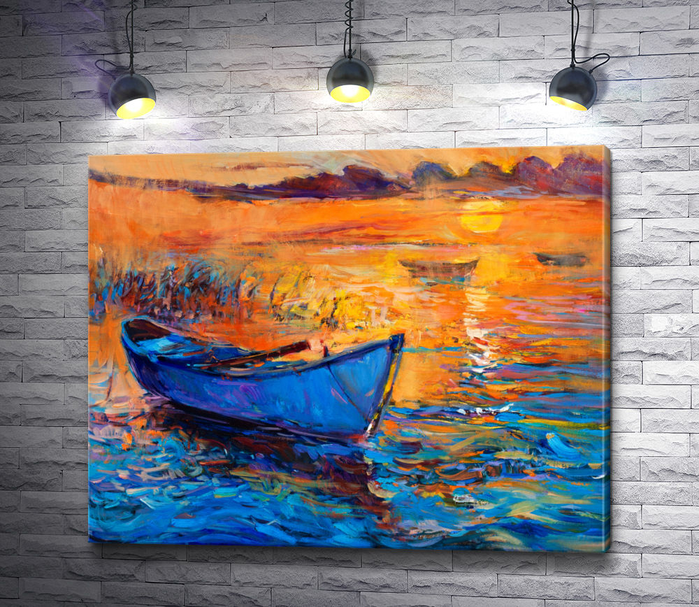 """Картина """"Лодка и закат солнца"""""""