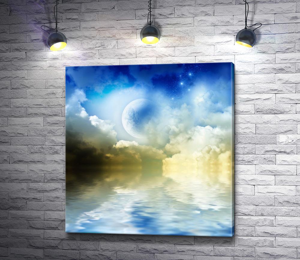 """Картина """"Луна в облаках отражается в воде """""""