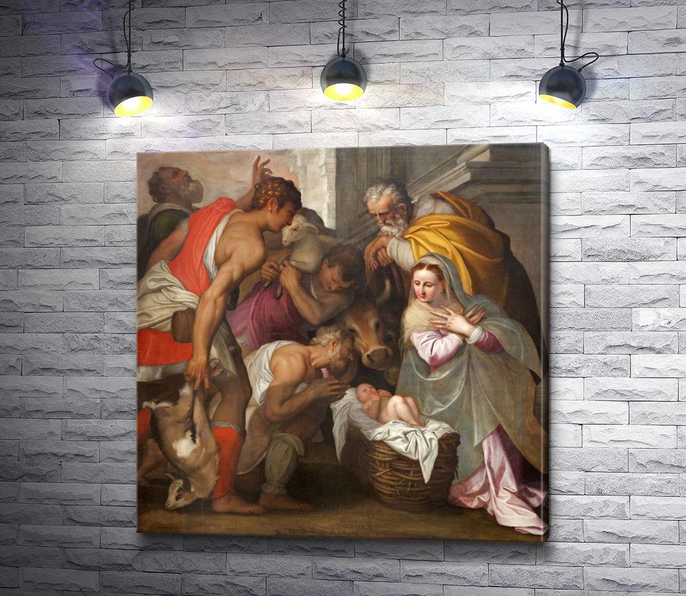 """Картина """"Рождение Иисуса,  фреска в церкви Сан-Бернардино в Италии"""""""