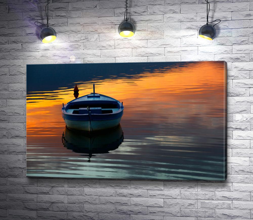 """Картина """"Лодка на воде в закате """""""