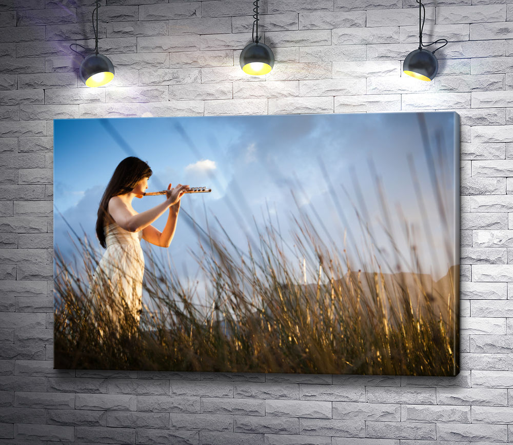 """Картина """"Привлекательная флейтистка в длинной траве"""""""