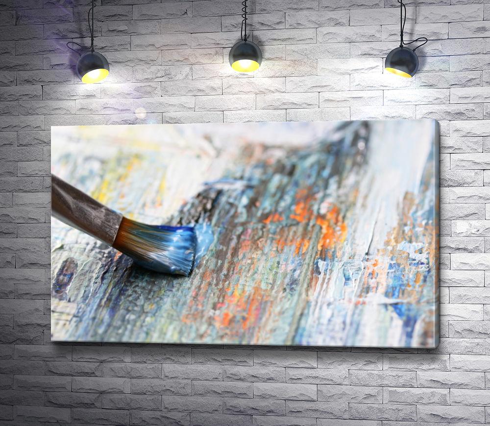 """Картина """"Кисточка в краске и деревянный холст """""""