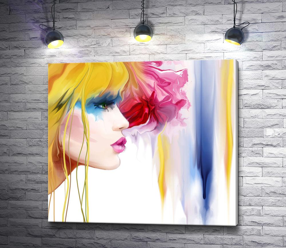 "Картина ""Профиль блондинки с яркими тенями """
