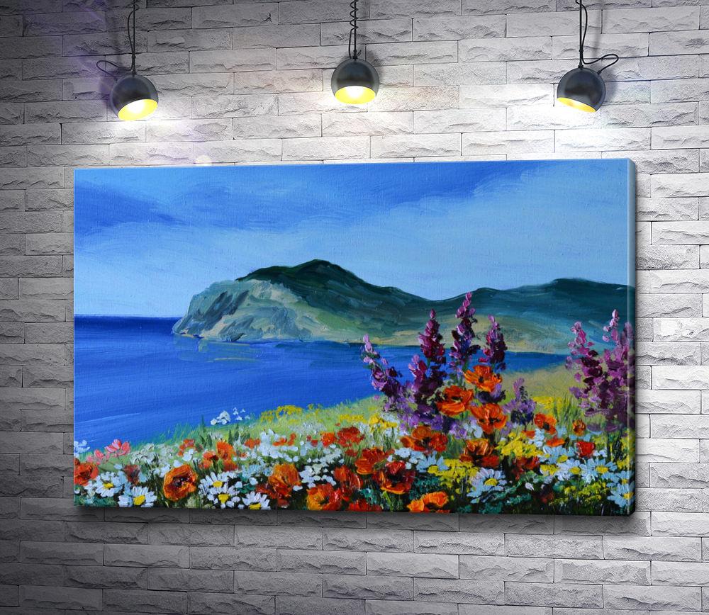 """Картина """"Цветочная поляна на фоне моря и гор """""""