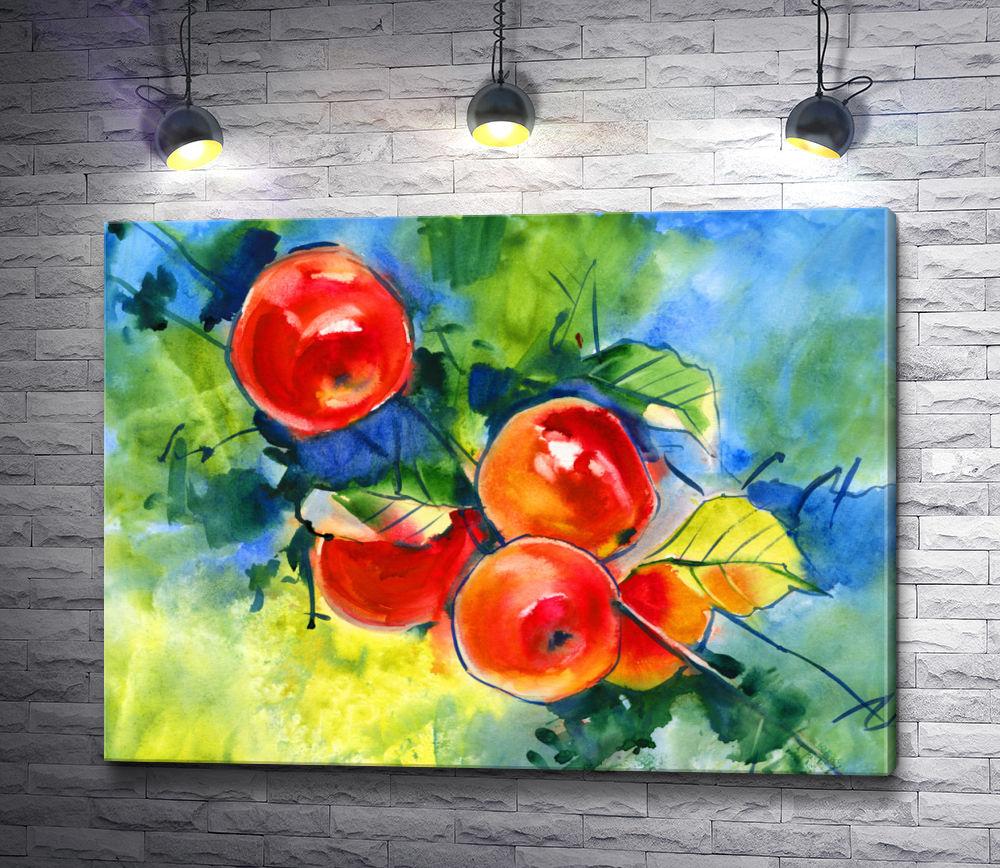 """Картина """"Красные яблоки на ветке """""""
