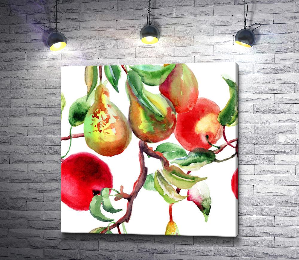 "Картина ""Яблоки и груши на ветке"""