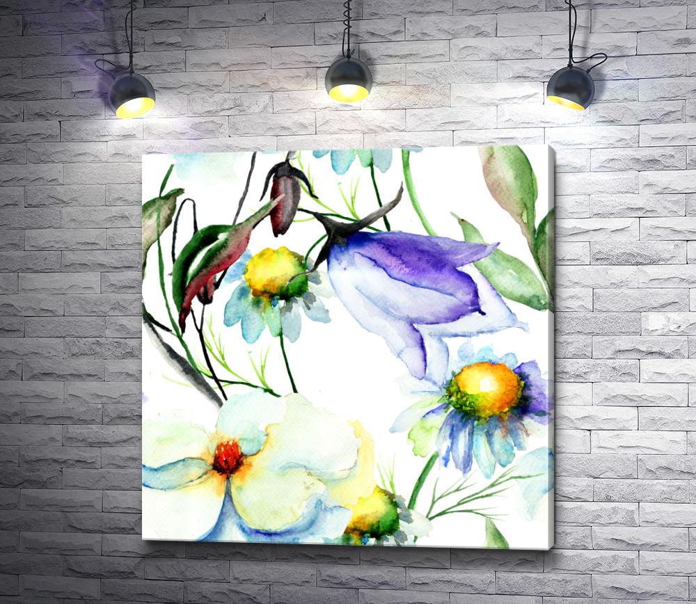 """Картина """"Романтичные цветы на белом фоне"""""""