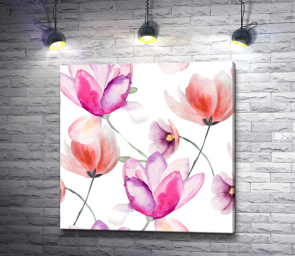 """Картина """"Нежные цветы на белом фоне """""""