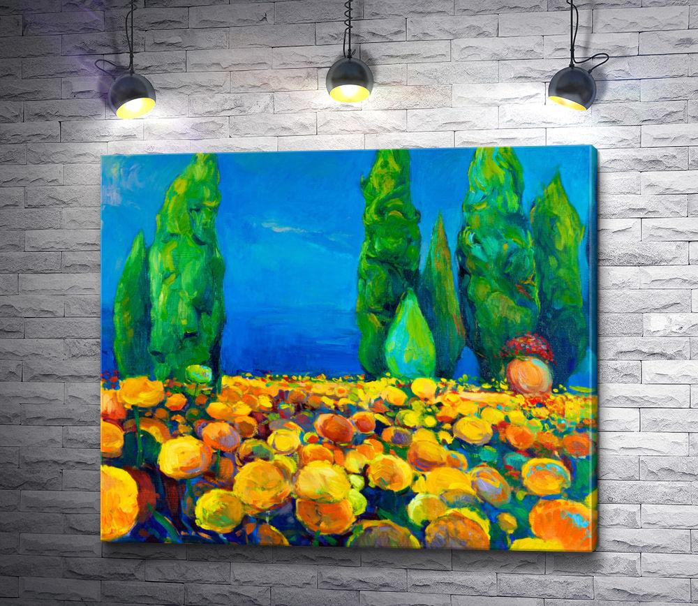 """Картина """"Зеленые деревья и желтые цветы"""""""