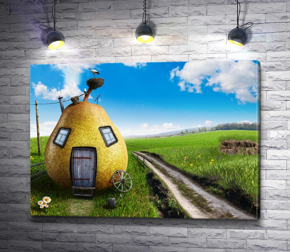 "Картина ""Дом в виде груши и аист """