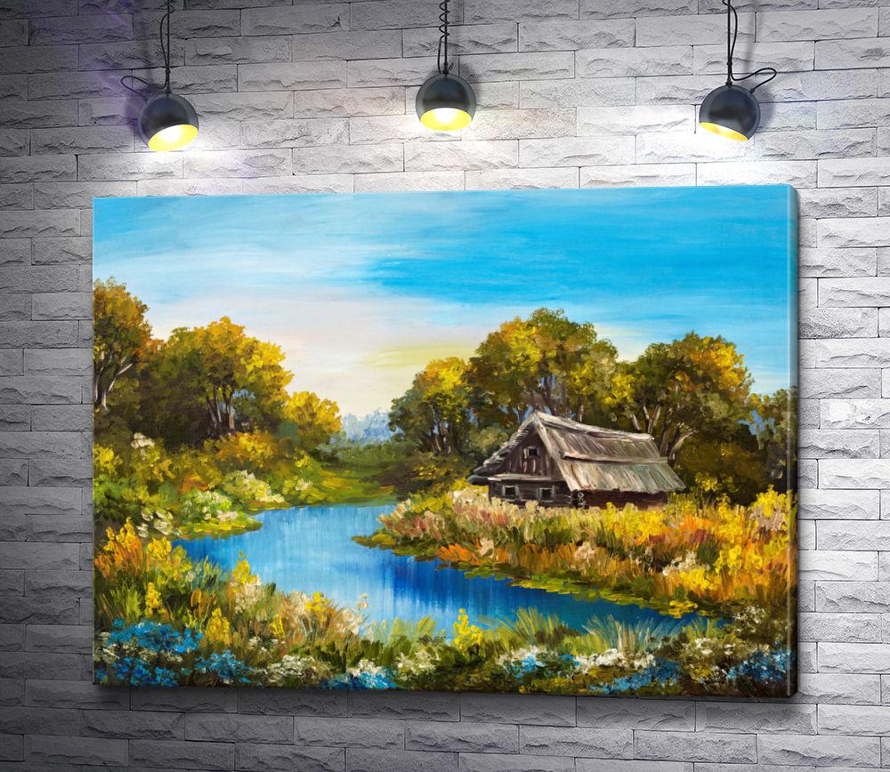 """Картина """"Домик в живописной местности """""""