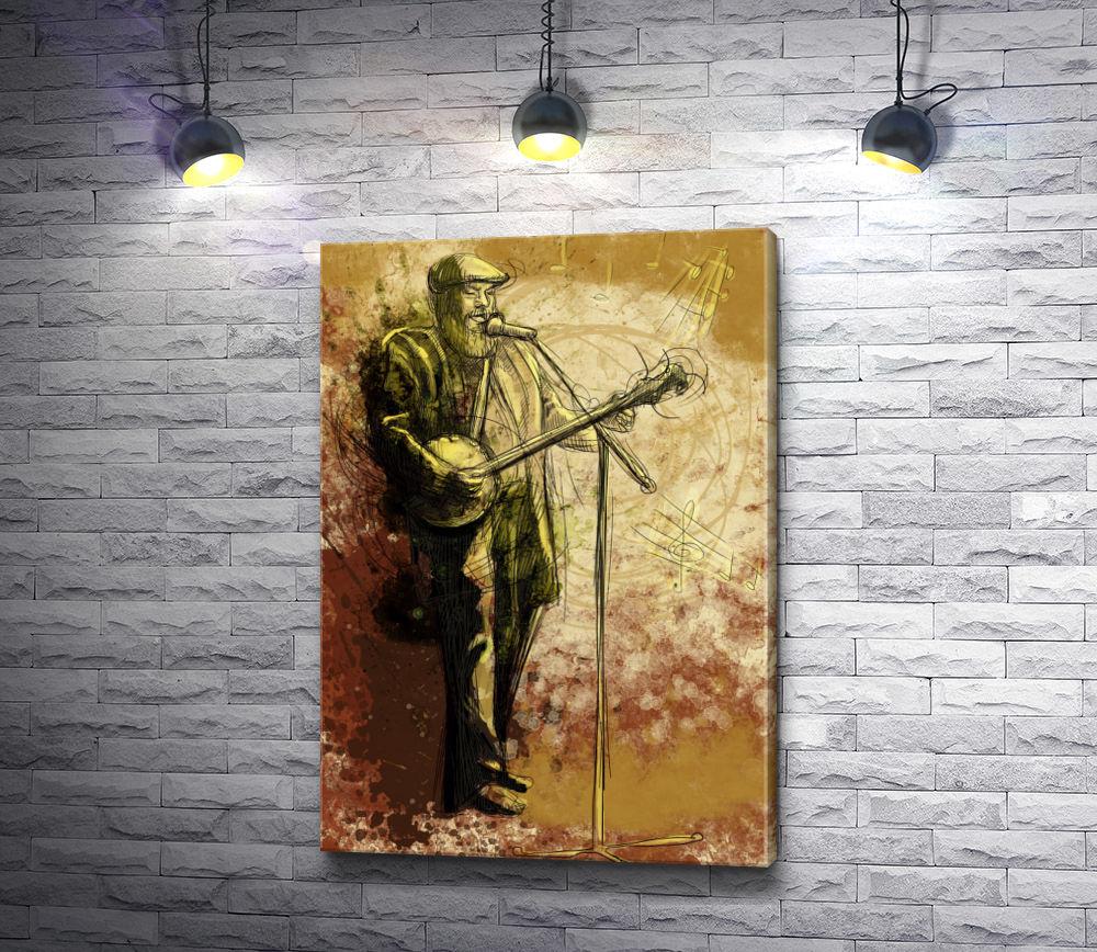 """Картина """"Бородатый человек играет на банджо и поет в микрофон """""""