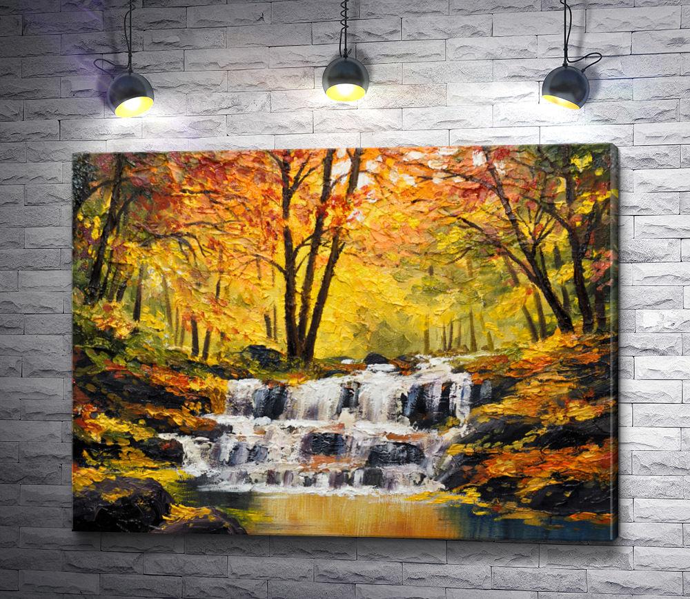 """Картина """"Маленький водопад в осеннем парке """""""
