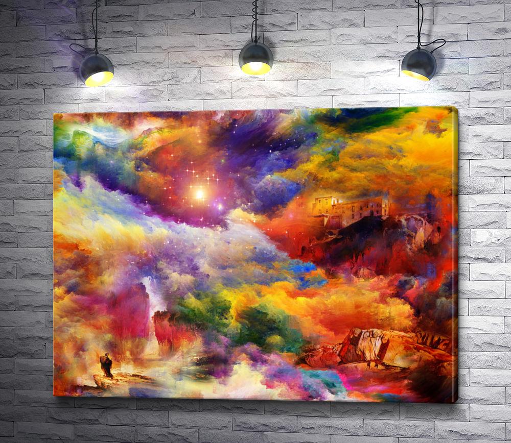 """Картина """"Дом и скала в ярких красках """""""