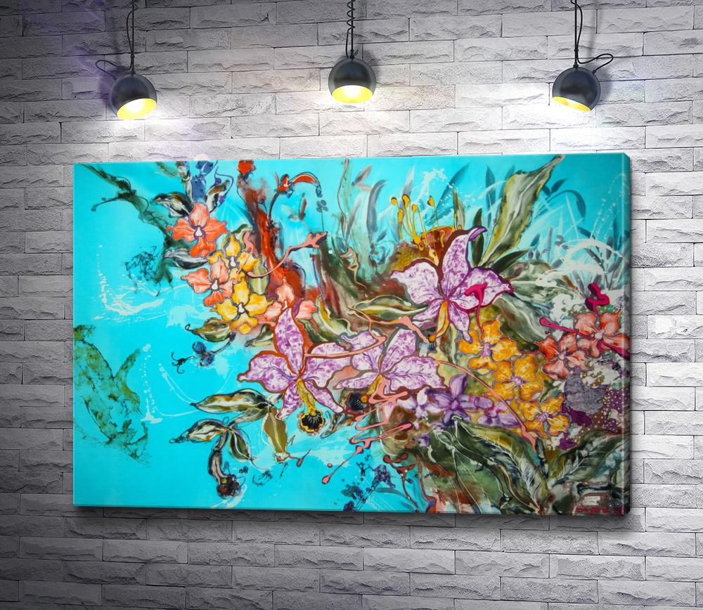 """Картина """"Разноцветные орхидеи """""""