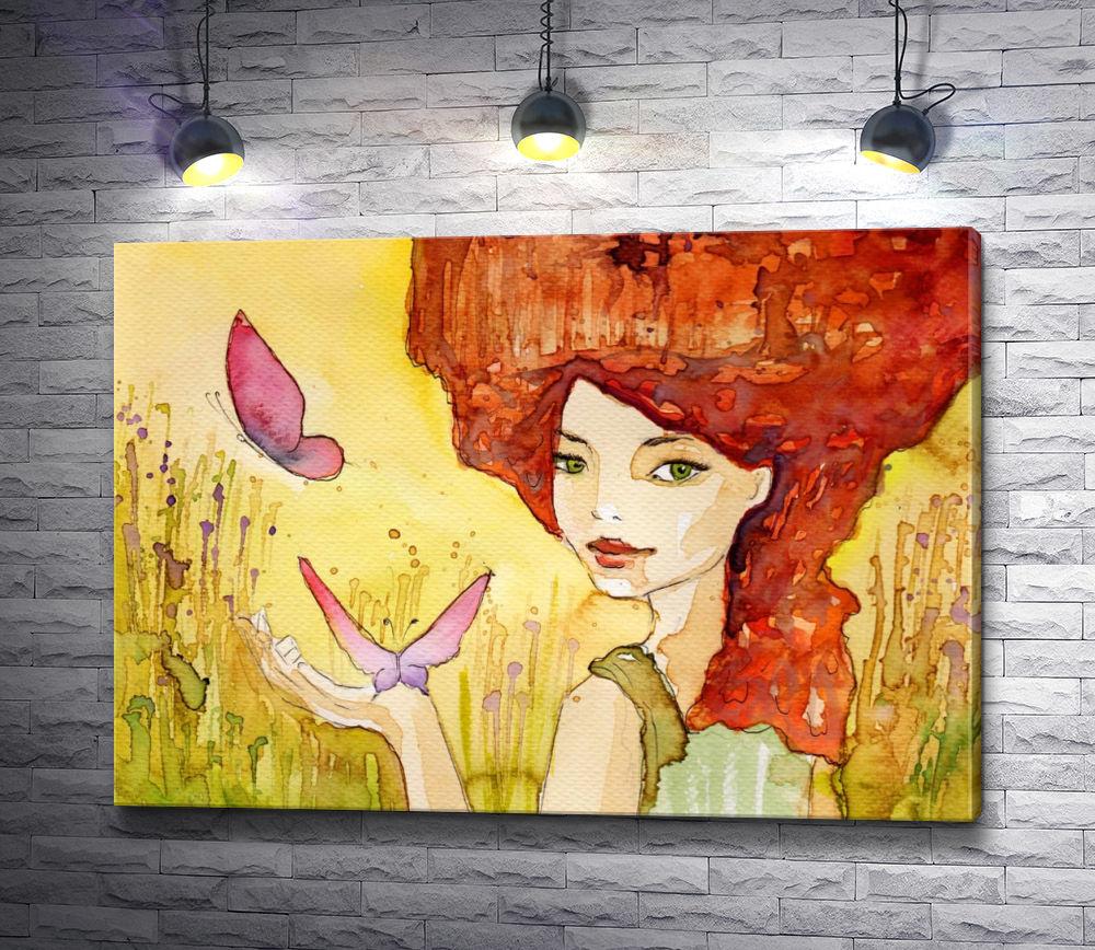 """Картина """"Девушка с бабочками """""""