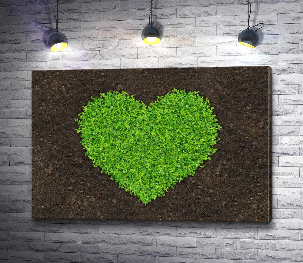 """Картина """"Трава,  высаженная в форме сердца """""""