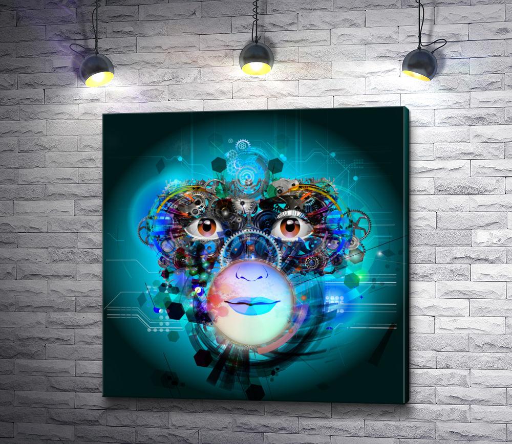 """Картина """"Лицо робота,  абстракция """""""