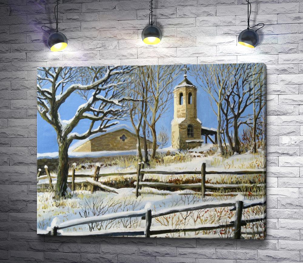 """Картина """"Деревянная церковь в зимнюю пору """""""