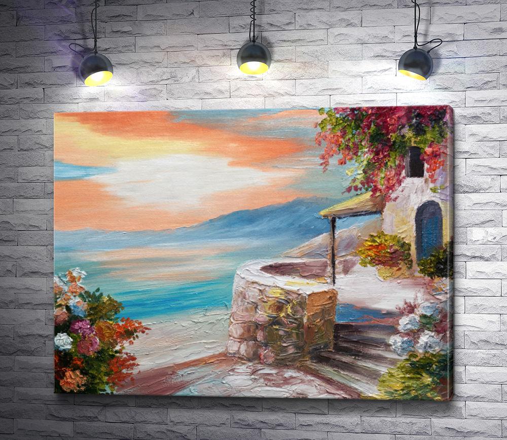 "Картина ""Домик на берегу моря """