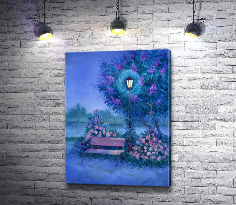 "Картина ""Лавочка возле фонаря в парке"""