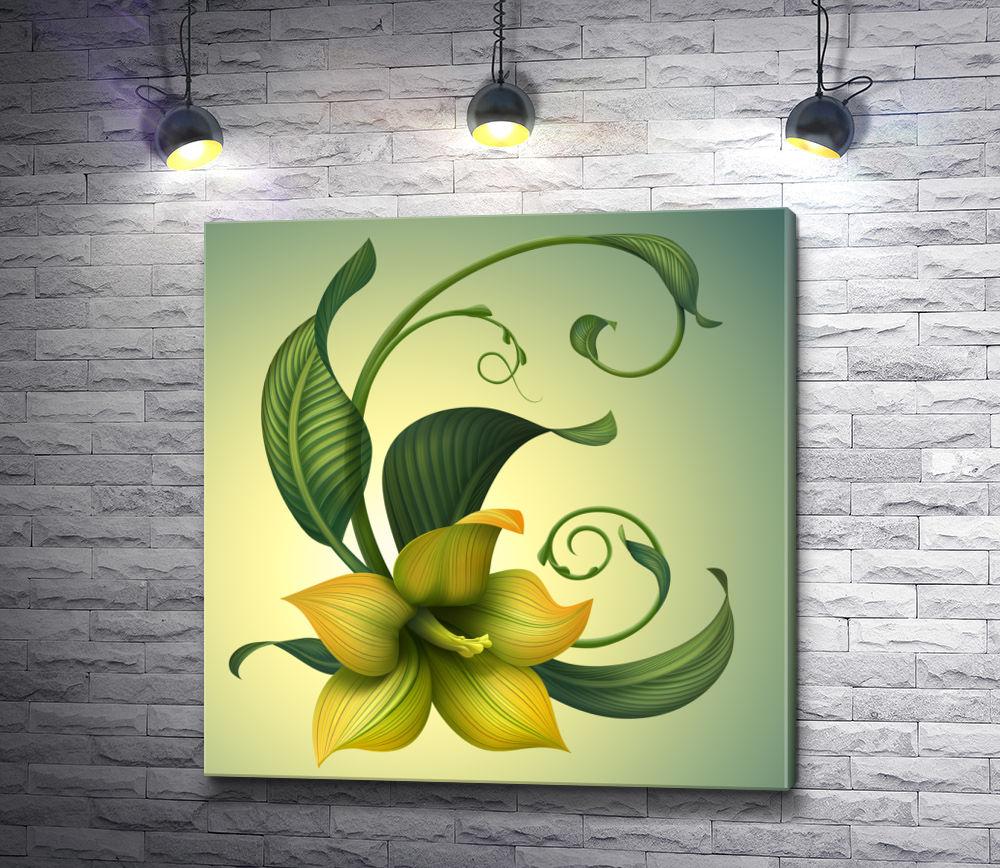 """Картина """"Желто-зеленый цветок"""""""