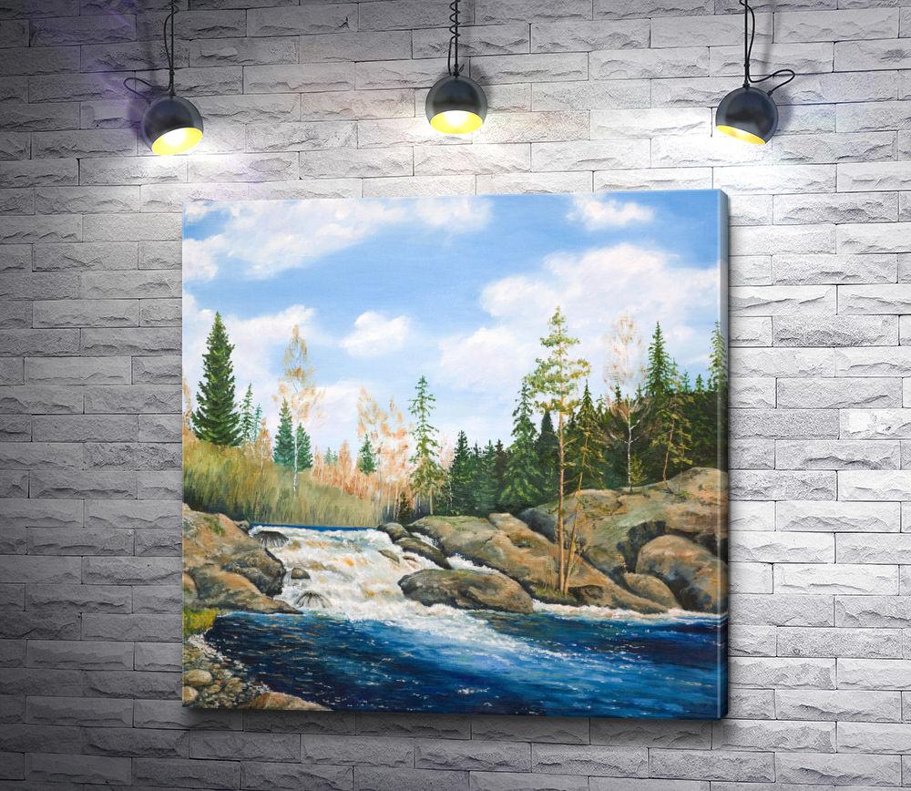 "Картина ""Водопад в лесу"""