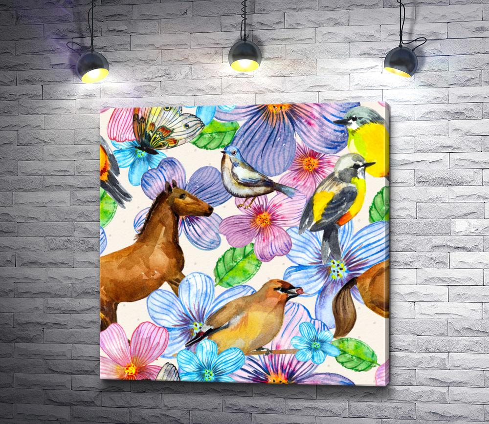 """Картина """"Лошадь,  птицы и бабочка в цветах """""""