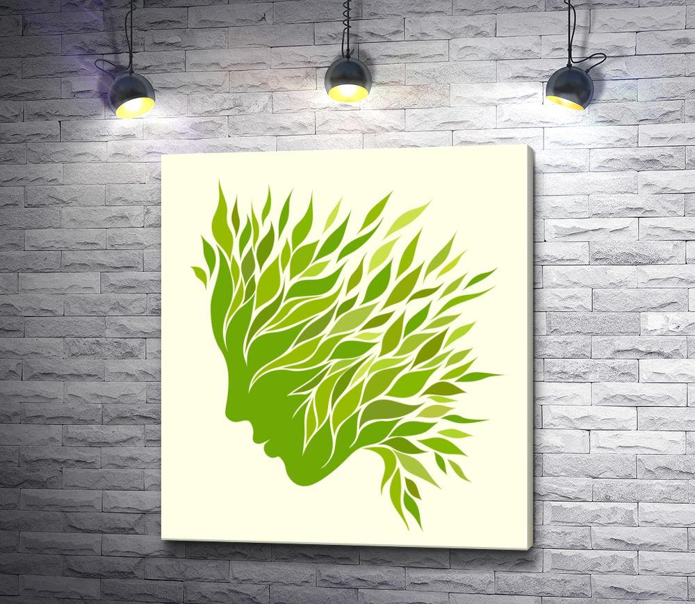 """Картина """"Профиль девушки из листьев """""""