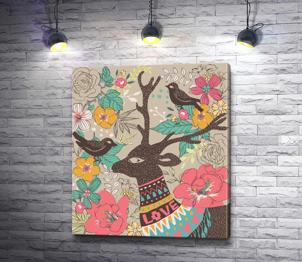 """Картина """"Олень и птицы на фоне цветов """""""