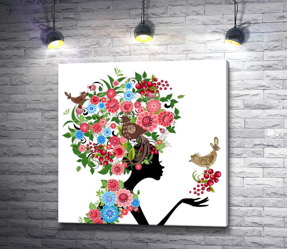 """Картина """"Девушка в цветах с птицами """""""