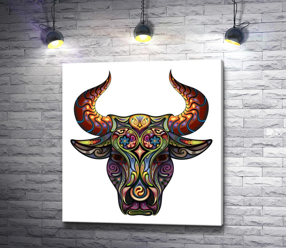 "Картина ""Голова быка из узоров"""
