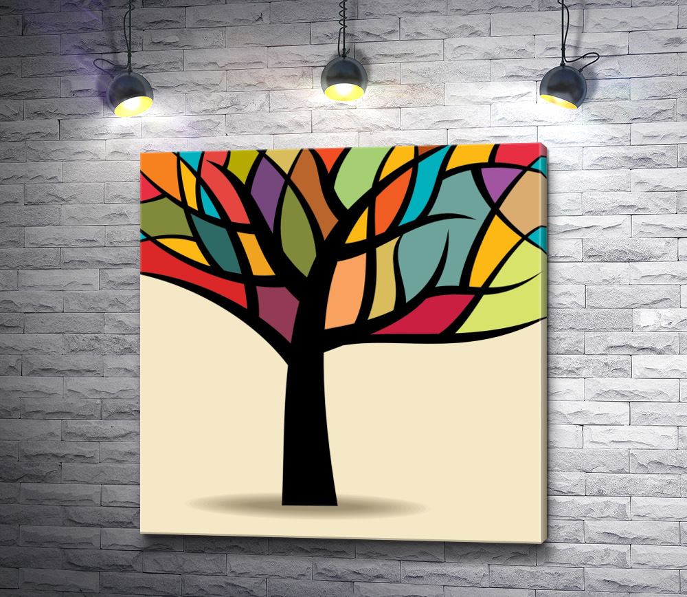 """Картина """"Дерево с цветной кроной """""""