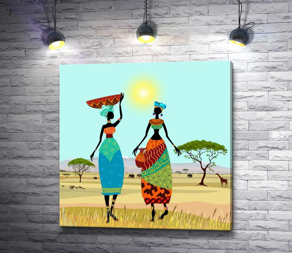 """Картина """"Две африканские девушки в саванне """""""