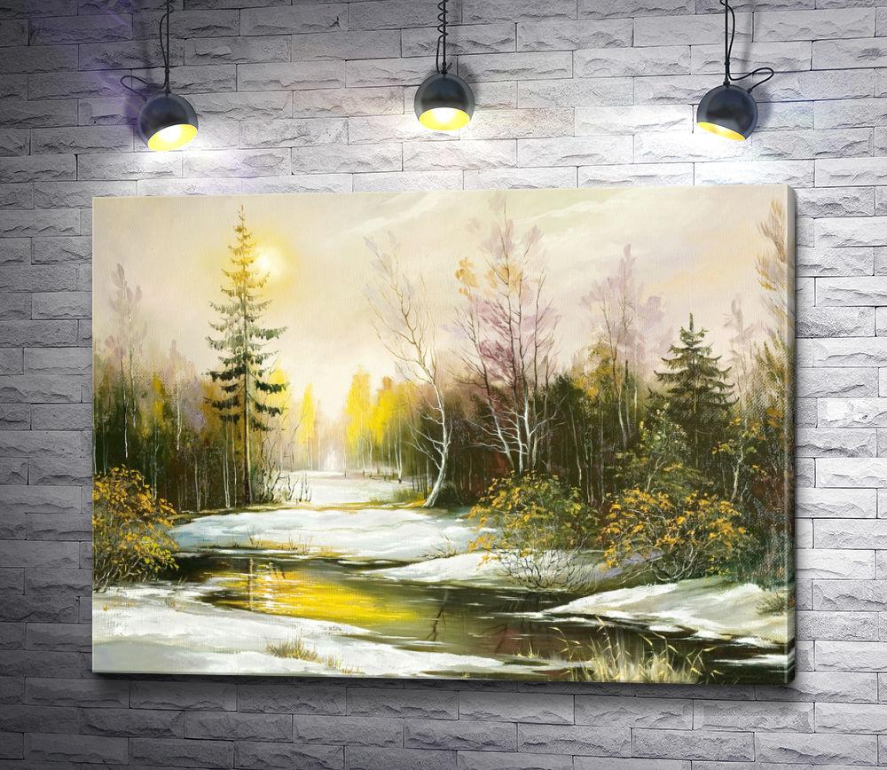 """Картина """"Лес  ранней весной """""""